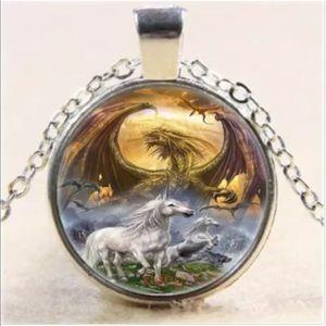 Silver tone picture necklace